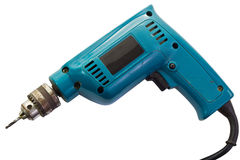 Drill. Old electric drill isolate on white background and clipping path Stock Photo