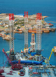 Drill Rig Refit. Jack up drill rig refit in Baku getting ready for drilling operations in Caspian Sea Royalty Free Stock Images