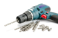 Drill-screwdriver with drills and nozzle Royalty Free Stock Photo