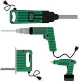 Drill screwdriver and hammer jigsaw Stock Photos