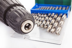 Drill and screwdriver set Royalty Free Stock Images