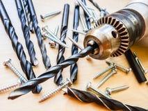 Drill and screws Stock Photos