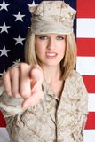 Drill Sergeant. Angry female drill sergeant pointing stock photography