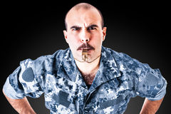 Drill sergeant with moustache Stock Images