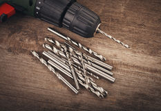 Drill and set of drill bits Stock Photography