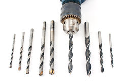Drill and set of wood drill bits Stock Photo