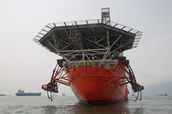 Drill Ship. At the anchorage at OPL (Out-Port-Limit) offshore Singapore stock images