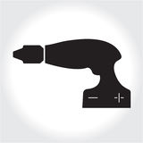 Drill tool icon, black silhouette. Element logo   isolated on white background. Royalty Free Stock Photography