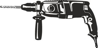 Drill. Vector illustration of an black drill suitable for cutter plotter Stock Image