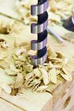 Drill for wood in hole of board and shavings Royalty Free Stock Photo