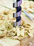 Drill for wood in hole of board and shavings Royalty Free Stock Images