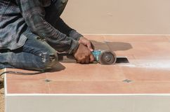 Drill cutting tile. Drill work using tile cutting tool Stock Images