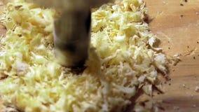 Drillborrbit som borrar ett hål i stycket av trä - konstruktions- och byggandebegrepp lager videofilmer