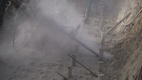 Drilled piles deep foundation: drilling tie. stock video