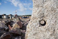 Drilled Stone. Near a construction site Royalty Free Stock Photos