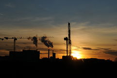Drilling 028. A oil drilling station at sunset Stock Images