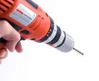 Drilling 2. A hand using a drill (part of a set royalty free stock photos