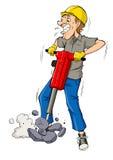 Drilling. Cartoon illustration of a man drilling Royalty Free Stock Photo