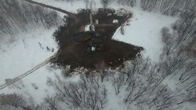 Drilling a deep well with a drilling rig oil and gas field in winter forest. Field located in Kamchatka, Tundra, Yamal
