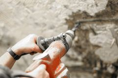 Drilling and demolition , breake hammer Stock Photo