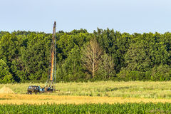 Drilling derrick for geological survey Royalty Free Stock Image
