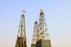 Drilling derrick in a iron mine Stock Image