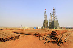 Drilling derrick in a iron mine, China Royalty Free Stock Photography