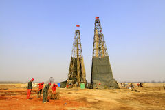 Drilling derrick in a iron mine, China Royalty Free Stock Photos