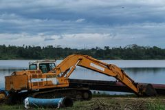 Drilling dredging machine largest, isolated. royalty free stock images