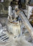Drilling equipment. Is covered with ice when the bitter cold Royalty Free Stock Photo