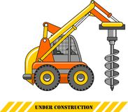 Drilling equipment. Heavy construction machines. Vector illustration Stock Photo
