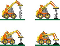 Drilling equipment. Heavy construction machines. Vector illustration Royalty Free Stock Photography