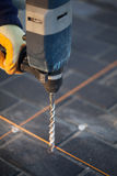 Drilling with hammer drill. Royalty Free Stock Photos