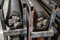 Drilling heads for tunneling machinery. Drilling heads for tunnel piperoof grouting machinery Stock Images