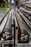 Drilling heads for tunneling machinery. Drilling heads for tunnel piperoof grouting machinery Stock Photo