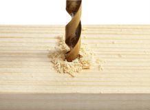Drilling hole in wood Stock Photos