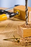 Drilling hole in a wooden plank. Stock Image