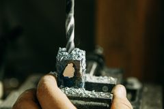 Drilling holes on wood parts. stock photo