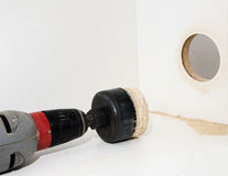 Drilling of large diameter hand drill. Drilling of large diameter holes hand drill, close-up, carpentry Stock Images