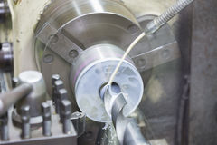 Drilling by lathe machine Stock Image