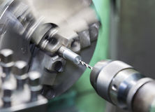 Drilling by lathe machine Royalty Free Stock Photos
