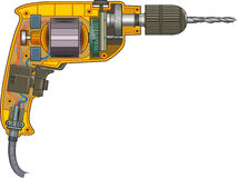 Drilling machine. Schematic representation of electric drills Stock Image