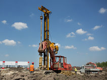 Drilling machine at construction site Royalty Free Stock Photography
