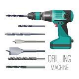 Drilling machine or hand drill fitted with cutting or driving tool. Attachment, set of drills or driver bits of shapes, vector illustration isolated on white Stock Image