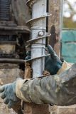 Drilling machine for drilling holes. In the ground Stock Images