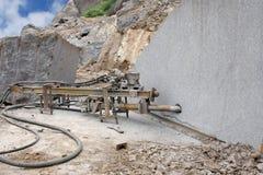 A drilling machine making horizontal holes royalty free stock photos