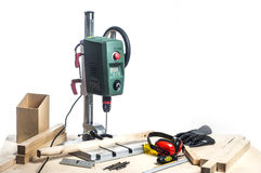 Drilling machine and table tools. Royalty Free Stock Photo
