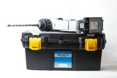 Drilling machine and toolbox Stock Photos