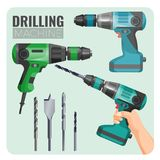 Drilling machine vector illustration of electro work tool. And set of set of drills, drill in hand long brad point drill bit for woodworking isolated on white Royalty Free Stock Photo