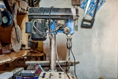 Drilling machine in vintage workshop Royalty Free Stock Photography